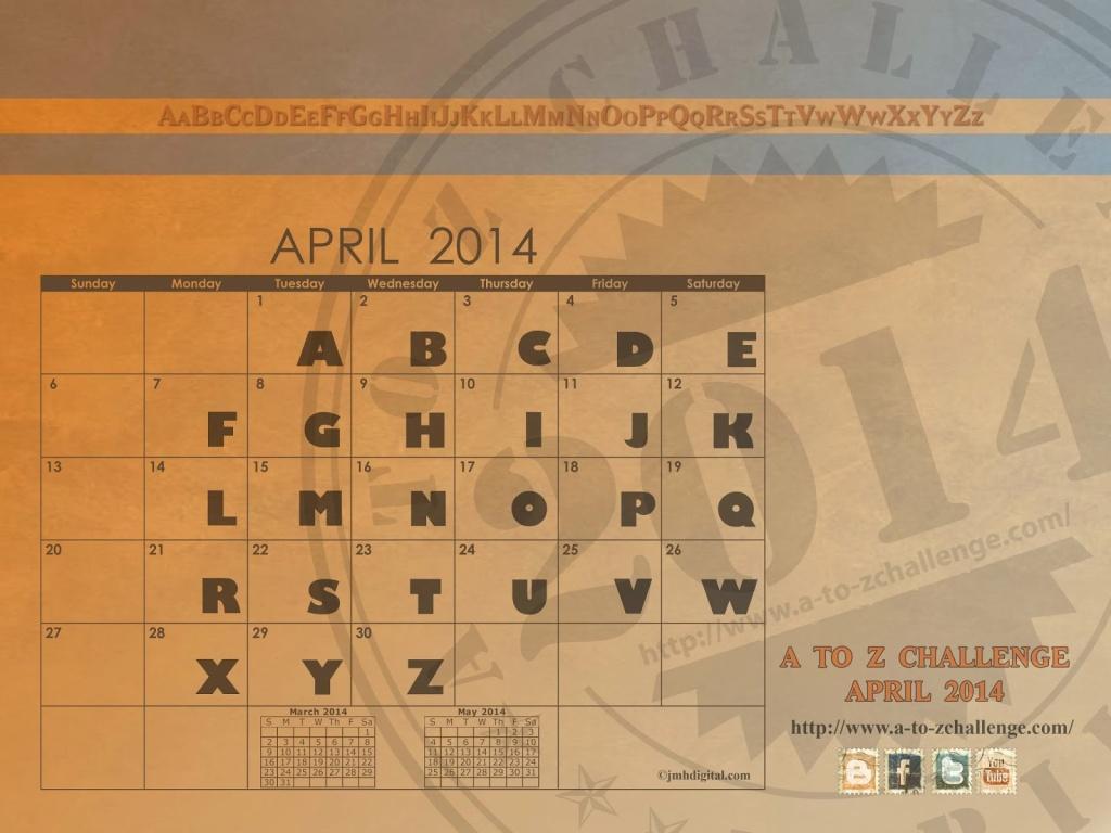 A to Z Challenge Calendar