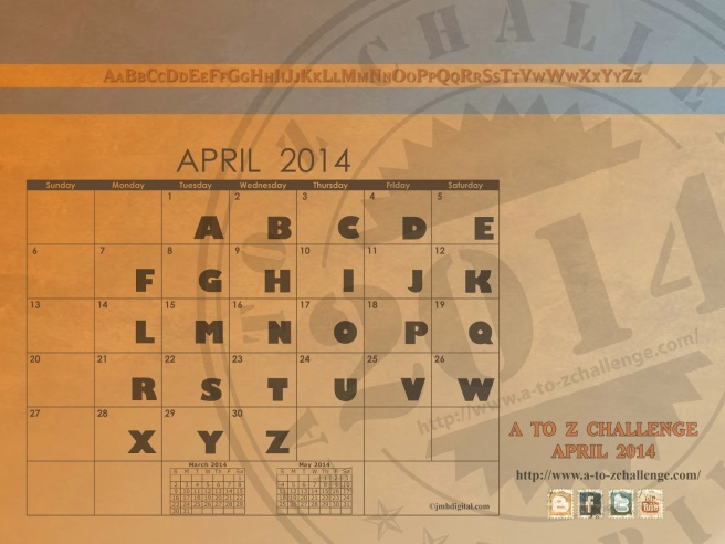 A to Z Challenge Calendar