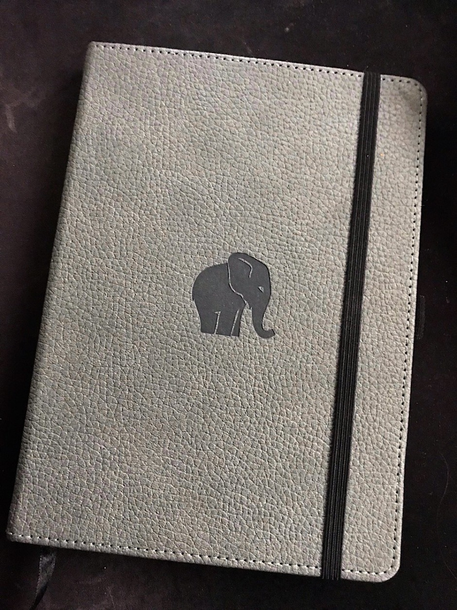 Photo of leather hardcover journal with elephant embossed on front