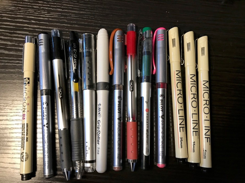 Photo of pens of various brands
