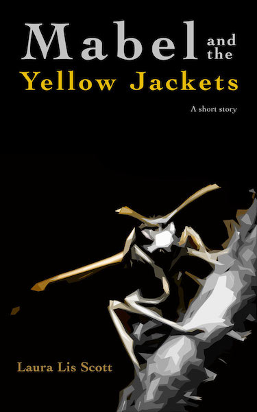 Book cover, Mabel and the Yellow Jackets, by Laura Lis Scott, with an illustrated yellow jacket against a black background